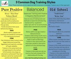 This little bit of into is just so you have an idea of the 3 main styles that are offered in the dog training industry, and the mentality behind them. As it mentioned in the header note, it's all on a spectrum so there are blurred lines in between the methods. Some trainers lean more one way than the other, and some trainers are on the extreme end of each side. Every trainer works a little differently.  The dog training industry is unregulated, so that means anyone (qualified and…