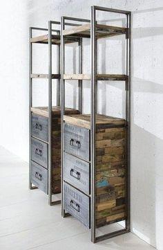 Estante de aço com prateleiras em madeira reciclada e gavetas co tampo em metal Fabricado no Brasil por ateliedorestaurador.com