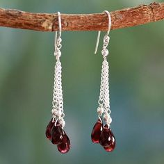Garnet dangle  earrings, 'Sparkling Wine' - Handcrafted Indian Earrings with Garnet
