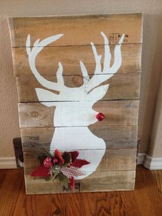 Ruldolph the Red Nosed Reindeer Reclaimed Pallet by TwoChicsJunk Wooden Christmas Decorations, Christmas Wood, Primitive Christmas, Christmas Signs, Christmas Projects, Vintage Christmas, Christmas Ideas, Yule Crafts, Christmas Crafts