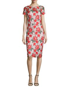 Floral+Embroidered+Lace+Sheath+Cocktail+Dress+by+David+Meister+at+Neiman+Marcus+Last+Call.