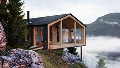 Gorgeous architecture by Master Volden! This project I started in november I tried to achieve the feeling of a wet autumn fjord hillside, and the place where one can comfortably stay offline, enjoying the nature around him. More images on Behance Cabins In The Woods, House In The Woods, Architecture Details, Modern Architecture, Sustainable Architecture, Small Buildings, Dream House Exterior, Cabin Homes, Little Houses