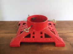Cast Iron Christmas Tree Stand Red Art Deco Design by jessamyjay on Etsy