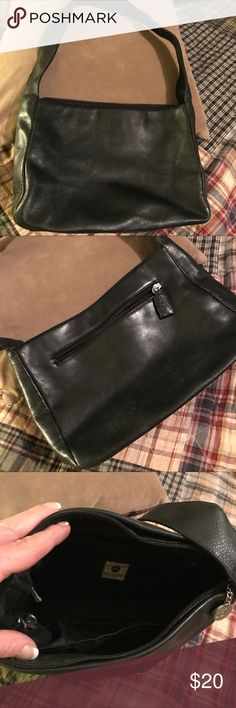 All black leather The Sak shoulder bag Approximately 10x7x4  17 inch drop. All black genuine leather.  Very clean and perfect medium purse.  Has a little fraying on strap but not at all bad.   Great everyday purse !! The Sak Bags Shoulder Bags