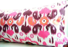 Pink Bolster Pillows, Pink Ikat Pillows, Pink and Orange Bolsters, Long Lumbar Pillows, Black Friday Etsy, Cyber Monday Etsy$49