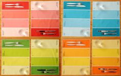 i thought these were Pantone-themed at first, but paint chips are still cool, too