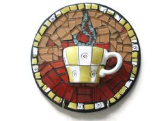 Mosaic Wall Art Cup of Coffee Mixed Media Glass by MosaicMargalita, $40.00