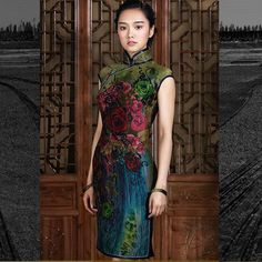 Gradient Blue & Green Elegant Cheongsam Dress ($329) ❤ liked on Polyvore featuring dresses, dark olive, women's clothing, cocktail dresses, tall dresses, cheongsam dress, qipao dress and henley dress