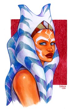 "lorna-ka: ""To continue the Ahsoka theme, I also finally scanned this portrait of her I did some time ago :> """