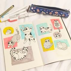 How to Draw a Cat: Cute Cat Doodles for Beginners — Sweet PlanIt Love Doodles, Kawaii Doodles, Simple Doodles, Cat Doodle, Doodle Drawings, Doodle Art, Doodle For Beginners, Art For Kids Hub, Cat Drawing