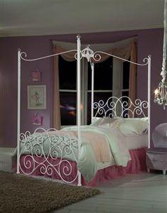 Princess Metal White Twin Bed