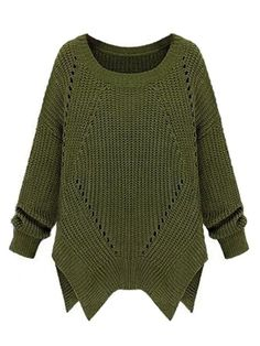 Women's Hollow Out Plain Round Neck Pullover