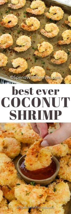 Coconut Shrimp is such an easy recipe, but the end result is amazing! Jumbo shrimp lightly battered, then coated with coconut and oven-baked until crispy and brown! Seafood Appetizers Seafood Appetizers Appetizers Appetizers for a crowd Appetizers parties Appetizers For A Crowd, Seafood Appetizers, Seafood Dinner, Healthy Appetizers, Appetizer Recipes, Appetizer Party, Easy Dinner Party Recipes, Shrimp Recipes Easy, Seafood Recipes