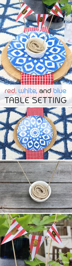 A tablescape so patriotic you'll want to leave it up all summer long! Easy DIY decor tips to that really wow. http://www.ehow.com/how_12340655_create-red-white-blue-table-setting.html?utm_source=pinterest.com&utm_medium=referral&utm_content=freestyle&utm_campaign=fanpage