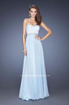 La Femme 20128 Powder Light Blue Stunning Gala Prom Gown Dress sz 6 #LaFemme #Formal