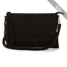 Warehouse Suede Plaited Cross-Body Bag
