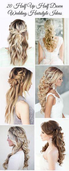 20 gorgeous half up half down wedding hairstyle ideas: