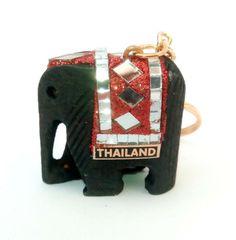 BIG size Handmade THAILAND wooden ELEPHANT KEYRING sparkly red Thai Elephant, Wooden Elephant, Key Rings, Elephants, Thailand, Shelf, Coin Purse, Wallet, Big