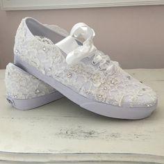 cf9bf2c35d25 Items similar to Vans Wedding Shoe - Wedding Tennis Shoes - Wedding  Trainers - Lace Wedding Vans - Lace Vans - Lace Wedding Tennis Shoes - Lace  Wedding ...