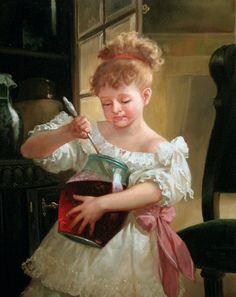 Passione è Barattolo di dolce densa marmellata ai frutti rossi nel quale s'affondano cucchiaini per gustarne il sapore assaporandone l'estasi e la fragranza. (Loretta Margherita Citarei)  Dipinto: Andrey Shishkin.