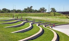 Tom Hanafan Rivers Edge Park - Sasaki Associates, Inc. - Helena Silva - - Tom Hanafan Rivers Edge Park - Sasaki Associates, Inc. Landscape Stairs, Landscape Architecture Design, Urban Landscape, Park Landscape, Classical Architecture, Ancient Architecture, Contemporary Landscape, Sustainable Architecture, Contemporary Architecture