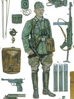 WEHRMACHT - artwork of the illustrator adam hook showing a german army officer during the invasion of france Ww2 Uniforms, German Uniforms, Military Uniforms, German Soldiers Ww2, German Army, Military Gear, Military Weapons, Military Equipment, Ww2 History