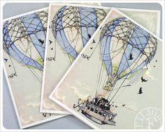 3 Hot Air Balloon Cards  Steampunk Art  Fairy Tale by theFiligree, $8.00