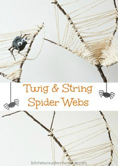 A lovely twig spider web craft for kids - gather up the branches and make a beautiful spider web for Halloween or anytime of the year.