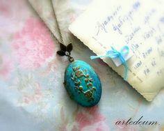 Personalized Necklace Locket Antique Verdigris Blue by WhiteTeapot