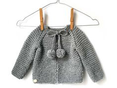 top down baby cardigan Baby Knitting Patterns, Knitting For Kids, Crochet For Kids, Crochet Baby, Knit Crochet, Knitted Baby Cardigan, Knit Baby Sweaters, Knitted Baby Clothes, Brei Baby
