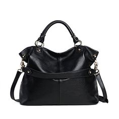 Leyan Ladys Casual Style Soft Leather Tophandle Handbag Cross Body Shoulder Bag Satchel Purse For WomenBlack ** Want additional info? Click on the image.