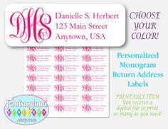 Monogram Avery 5160 Return Address Labels by FantasylandBoutique