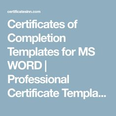 free certificate of completion pinterest free certificates certificate and template