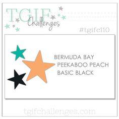 cardmaking challenge: TGIF Challenge #110 ... black with aqua and coral ...