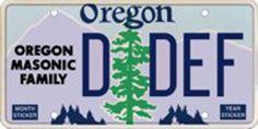 Oregon Masonic Family License Plate