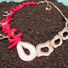 Look at the newest entry in the This is a convertible half collar necklace we've named The Seaside, with sterling silver Islands. Red coral attachment shown here. Red Coral, Collar Necklace, Handcrafted Jewelry, Seaside, Jewelry Collection, Convertible, Islands, Custom Design, Fine Jewelry