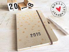 DIN A5 - taschenkalender/jahreskalender 2018, D/E A5 - ein Designerstück von annis-stempelei bei DaWanda