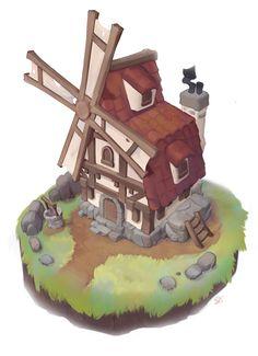 Lil' Windmill with Process, Becca Hallstedt on ArtStation at https://www.artstation.com/artwork/LgPmr