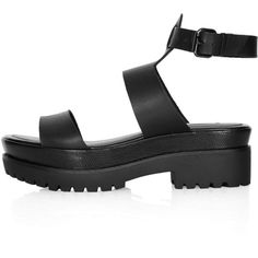 TOPSHOP FERNANDO Chunky Sandals (455 HNL) ❤ liked on Polyvore featuring shoes, sandals, heels, black, flatform shoes, flatform sandals, black heeled shoes, black flatforms and chunky heel shoes