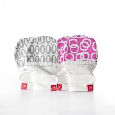 2 Pack Stay on Newborn Baby Mittens - Organic Cotton/Bamboo Mitts