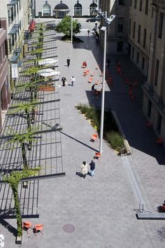 Mint Plaza | Landscape Urbanism. Once those vines get going this will be a lush area to meet up with friends