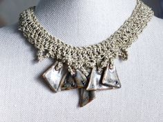 Crocheted Porcelain Bead Necklace