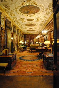 Library at Chatsworth House in Derbyshire