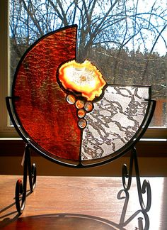 'Volcano' Stained Glass Mandala with Geode and glass nuggets