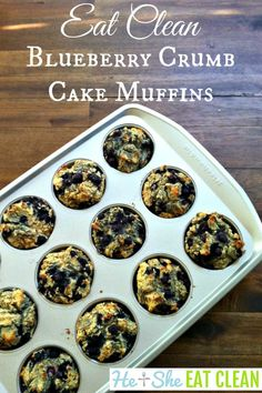 Need a dessert or even breakfast recipe that everyone in your family will eat? How about a gluten-free eat clean Blueberry Crumb Cake Muffin recipe? This recipe is phenomenal! Oatmeal Protein Shake, Clean Eating Breakfast, Eating Clean, Healthy Eating, Clean Eating Cookies, Cookie Dough To Eat, Banana Blueberry Muffins, Muffin Tin Recipes, Clean Eating Recipes