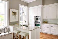 Love the color, sink placement and bench!   traditional kitchen by Gaylord Design LLC