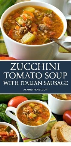 This Zucchini Tomato Italian Sausage Soup is a delicious way to use up all of those fresh garden vegetables! This Zucchini Tomato Italian Sausage Soup is a delicious way to use up all of those fresh garden vegetables! Easy Soup Recipes, Healthy Diet Recipes, Healthy Meal Prep, Cooking Recipes, Cooking Tips, Italian Soup Recipes, Keto Recipes, Summer Soup Recipes, Spinach Recipes