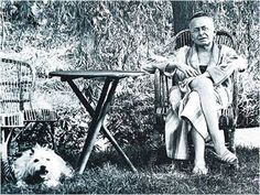 """Karl Kraus and dog bianco: """"When a man is treated like a beast, he says, 'After all, I'm human.' When he behaves like a beast, he says 'After all, I'm only human.'"""""""