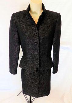 CARMEN MARC VALVO Signature Black & Metallic Brocade Blazer & Skirt Suit 2 #CarmenMarc #SkirtSuit