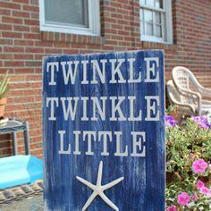 Beach Nursery Decor | Beach Sign Twinkle Twinkle Little Starfish Baby Nursery Coastal and ...